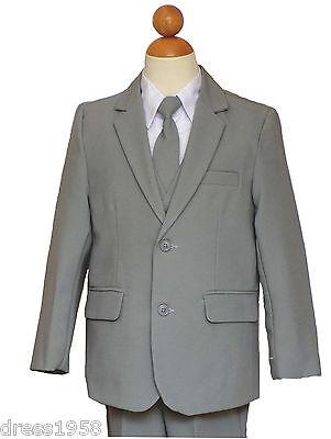 Light Grey Boys Suit (  Boys Teen Graduation, Recital, Rang Bearer Light Gray/White Suit, Sz:2T)