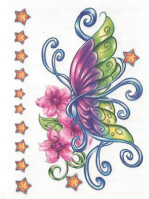 BUTTERFLY COLORFUL FLOWERS AND STARS Temporary Tattoo](Colorful Flower Tattoos)