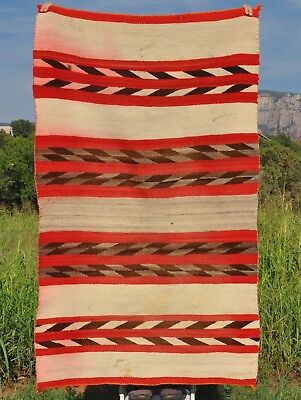 Early Navajo Indian Transitional Blanket - Banded Stripes - White Ground