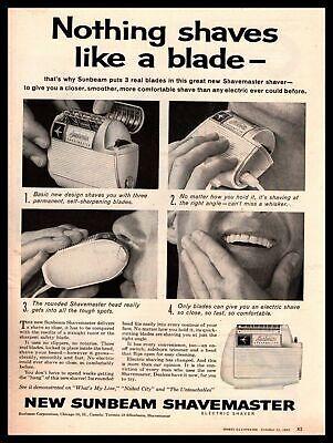 1960 Sunbeam Corporation Chicago IL Shavemaster Electric Shaver Vintage Print Ad