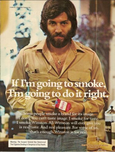 1974 Winston Cigarettes Vintage Magazine Ad   Sexy Guy Hairdresser