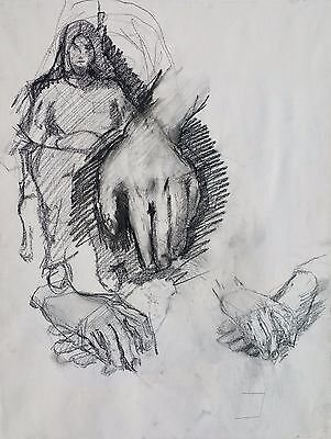 """Michael Steiner, """"Woman Series #8"""", Charcoal, 24""""h x 18""""w image, Lots of hands"""