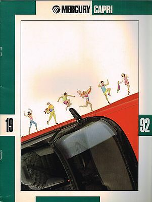1992 Mercury CAPRI Brochure with Color Chart: XR2, TURBO,Convertible