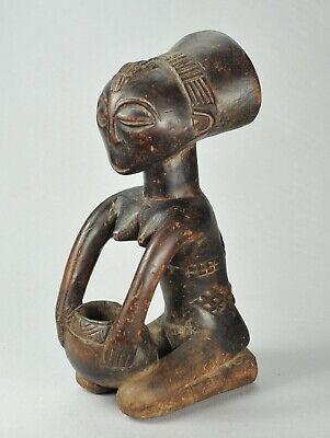 LUBA female cup bearer Figure statue mboko Congo Drc  African Tribal Art 1271