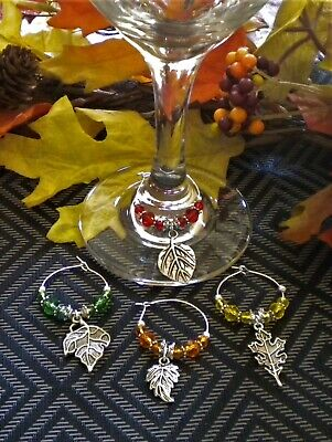 4 Wine Glass Charms Fall Leaf/Leaves, Thanksgiving Table Decoration, Gift Idea