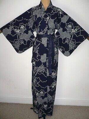 V. RARE LARGER AUTHENTIC  VINTAGE JAPANESE YUKATA COTTON KIMONO DRESSING GOWN