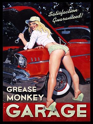 Grease Monkey Retro Metal Wall Plaque Art Vintage Advertising Sign man cave