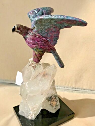 "Ruby and Kyanite Falcon on Quartz with Tourmaline  9 ""  Peter Muller"