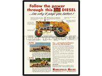 "MINNEAPOLIS MOLINE MODEL 445 UNIVERSAL TRACTOR AD  9/"" x 12/"" ALUMINUM Sign"