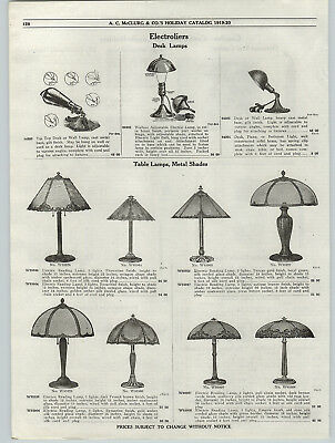 1919 PAPER AD Electric Table Bronze Reading Lamps Art Glass Shades