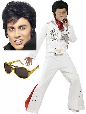 Elvis Costume Boys (Boys Childs Elvis Presley 50s 60s Fancy Dress Eagle Costume Opt Wig Glasses)
