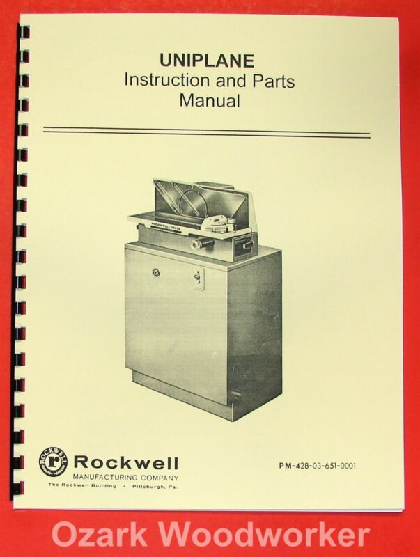 ROCKWELL Uniplane Instruction & Parts Manual 0622
