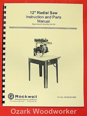 Rockwelldelta 12 Radial Arm Saw Instruction Part Manual 0624