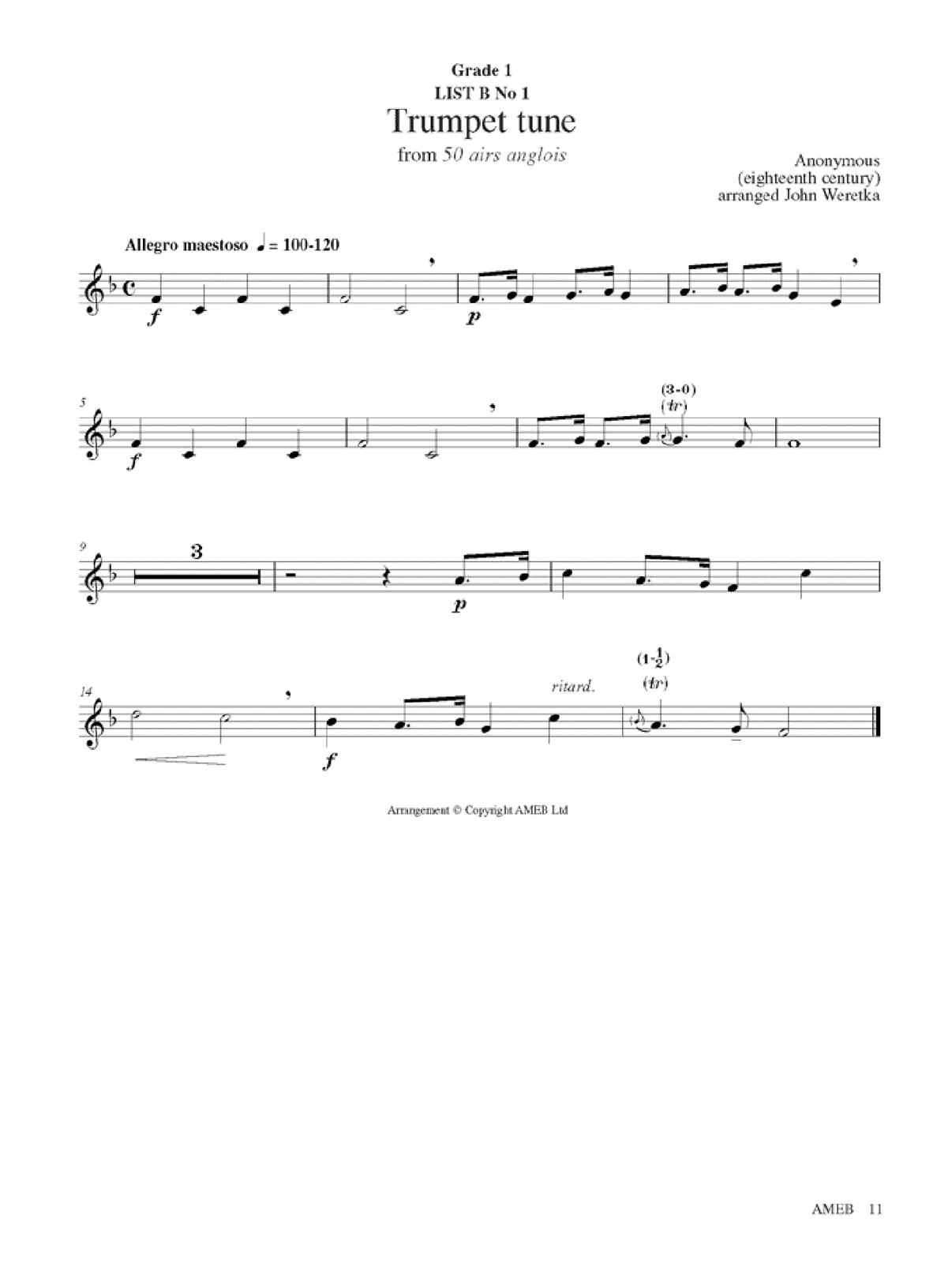 Trumpet Grade 1 And 2 Orchestral Brass Ameb
