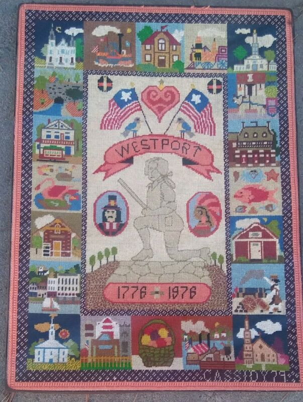 Vintag Westport Connecticut Minuteman Bicentennial Historic Needlepoint Sampler