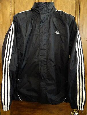 ADIDAS 3-Stripe Black Lightweight Windbreaker Hooded Jacket (MEDIUM)