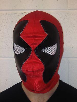Rot Deadpool Elasthan Maske Mexikanisch Wrestling Kostüm Halloween - Deadpool Kostüm Elasthan