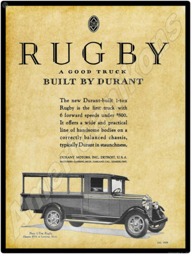 1929 Durant Motors New Metal Sign: Rugby 1 Ton Truck  Lansing, Michigan, Oakland