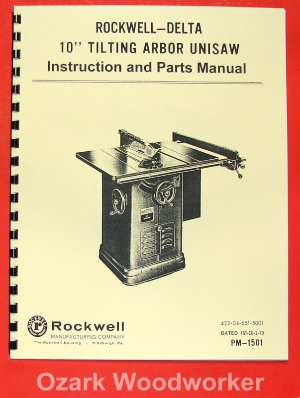 """ROCKWELL Older 10"""" Unisaw Table Saw Part Manual 34-450 0615"""