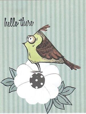 Crazy Bird (Crazy Bird on Flower 'hello' Handmade Notecards (3 cards)  #233  ***Gift)