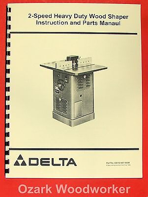 Rockwell-delta 2 Speed Heavy Duty Shaper Operating Parts Manual 0203