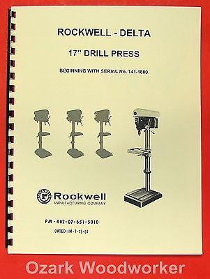 Rockwell-delta 17 Drill Press Operators Parts Manual 0638