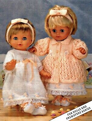 """Knitting Pattern DK Dolls Clothes  12 16 20"""" Coat Dress Hairband Bootees"""