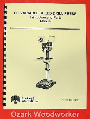 Sears Craftsman Drill Press 113.21371/& 113.213710 Operation /& Parts Manual #1120