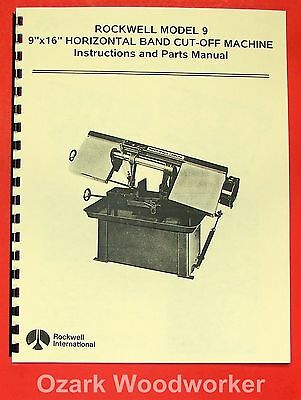 Rockwell-delta 9 X 16 Horizontal Band Saw Instructions Parts Manual 0630