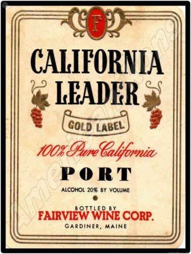 California Leader Port Wine NEW Metal Sign: Fairview Wine Co., Gardiner, Maine