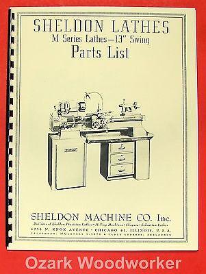 "SHELDON 13"" M Series Metal Lathe Parts Manual 0652"