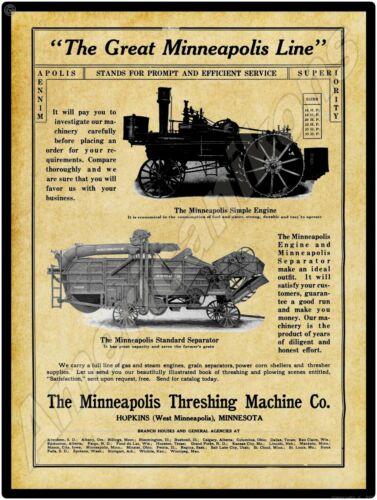 1915 Minneapolis Threshing Machine Co. Simple Engine New Metal Sign: MNPLS