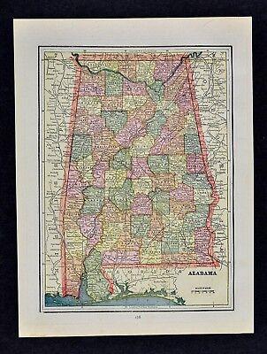 1892 Cram Map Alabama Montgomery Birmingham Selma Florence Huntsville Mobile AL