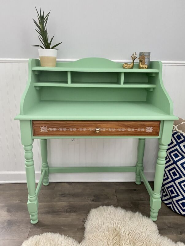 Antique Style Secretary Desk Refinished In Sage Mint Green With Stenciled Drawer