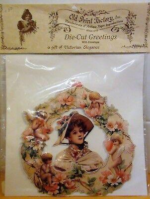 VICTORIAN LADY DIMENSIONAL DIE-CUT EMBOSSED GREETING CARD With Envelope