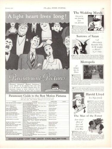 1927 ORIGINAL VINTAGE PARAMOUNT PICTURES MAGAZINE AD