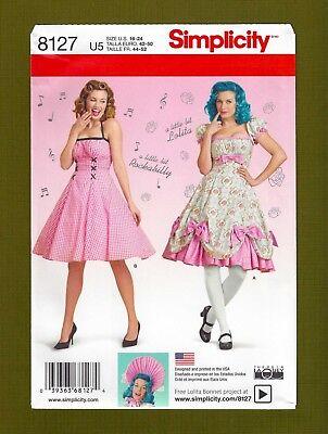 Rockabilly Dress~Costume Sewing Pattern~Full Skirt (Sizes 16-24) Simplicity 8127