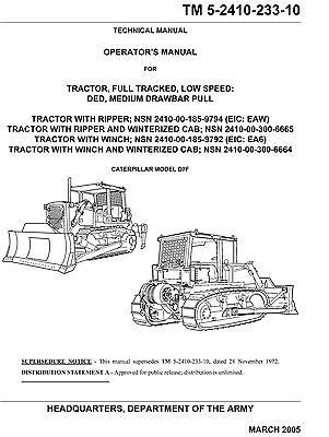 Dozer Caterpillar Model D7f Operators Manual