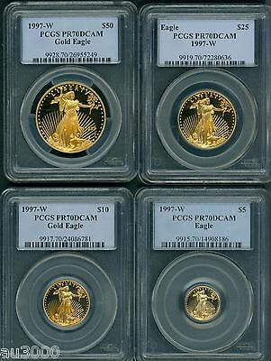 Click now to see the BUY IT NOW Price! 1997 W  1997  4 COINS GOLD EAGLE SET $50 $25 $10 $5 PCGS PR70 PROOF PF70 PR 70