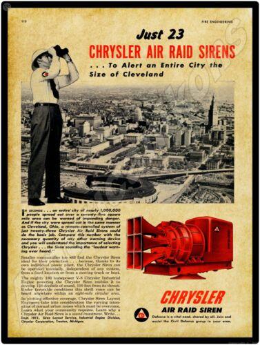 1952 Chrysler Air Raid Sirens NEW Metal Sign: Cleveland Skyline - Large Size