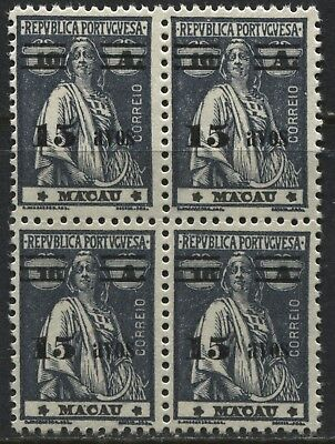 Macao 1933 surcharged 15a on 16a in a block of 4 unmounted mint NH for sale  Aurora