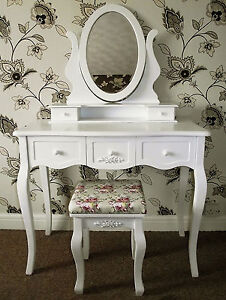 NEW-LARGE-WHITE-FRENCH-CHIC-STYLE-DRESSING-TABLE-STOOL-SET-ADJUSTABLE-MIRROR