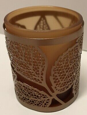 Yankee Candle Amber Leaves Tealight Tea Light Holder Fall Autumn