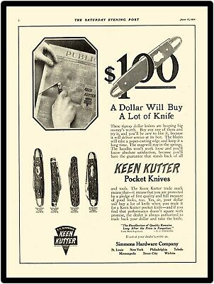1914 Simmons Hardware Co. New Metal Sign: KeenKutter Pocket Knives Advertised