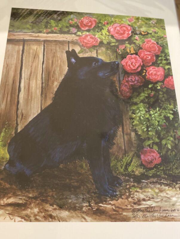 schipperke In Roses Ltd Ed Signed 11x14 Print By Van Loan