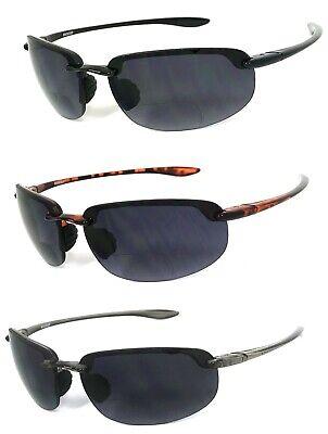Wrap Rimless Bifocal Sunglasses Sport Sun Reader Reading Glasses Men Women (Rimless Bifocal Glasses)