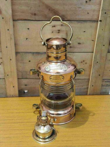 "Brass & Copper ANCHOR OIL LAMP Leeds Burton 14"" Nautical Maritime Ship Lantern"