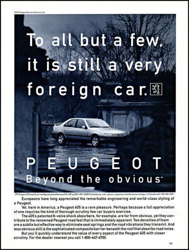 1991 Peugeot 405 Car Peugeot Motors of America retro photo print ad S14