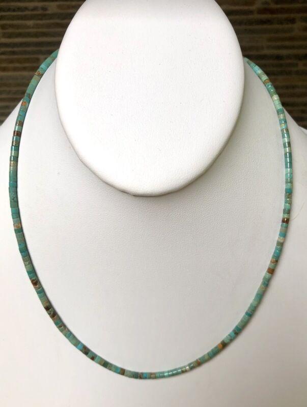 "Santo Domingo Turquoise Heishi  Sterling Necklace 18.75"" Perfect4Pendants"