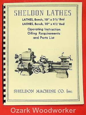 Sheldon Old 10 Metal Lathe Operators Parts List Manual 0832